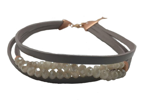 Taupe Leather Choker with Taupe Beads