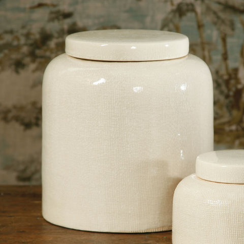 Off white ceramic ting jars