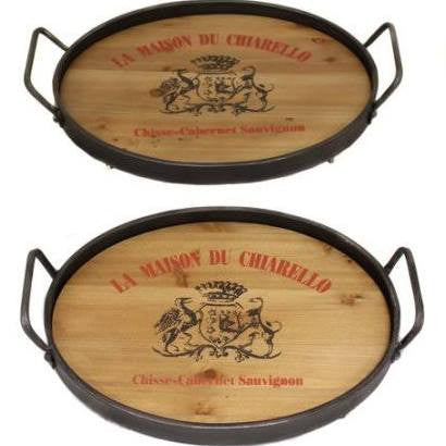 Wood and Metal Wine Lovers Tray