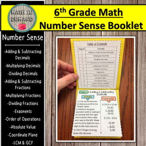 6th Grade Math Number Sense Booklet