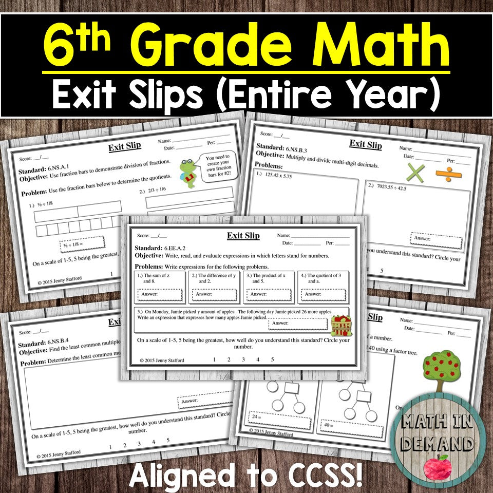 6th Grade Math Exit Slips
