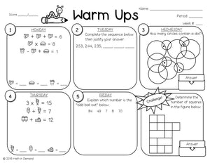 6th Grade Math Warm-ups