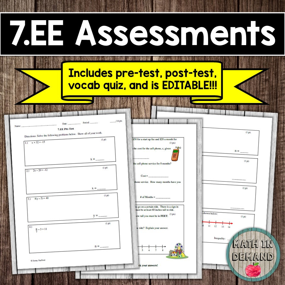 7. EE Assessment (Expressions and Equations)