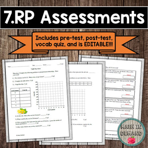7th Grade Math Assessments (7.NS, 7.RP, 7.EE, 7.G, 7.SP)