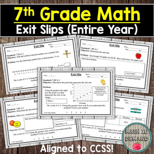 7th Grade Math Exit Slips