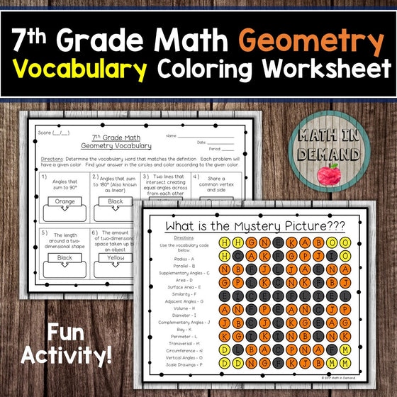 7th Grade Math Geometry Vocabulary Coloring Worksheet