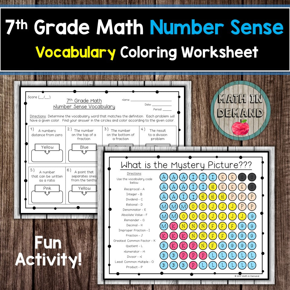 7th Grade Math Number Sense Vocabulary Coloring Worksheet