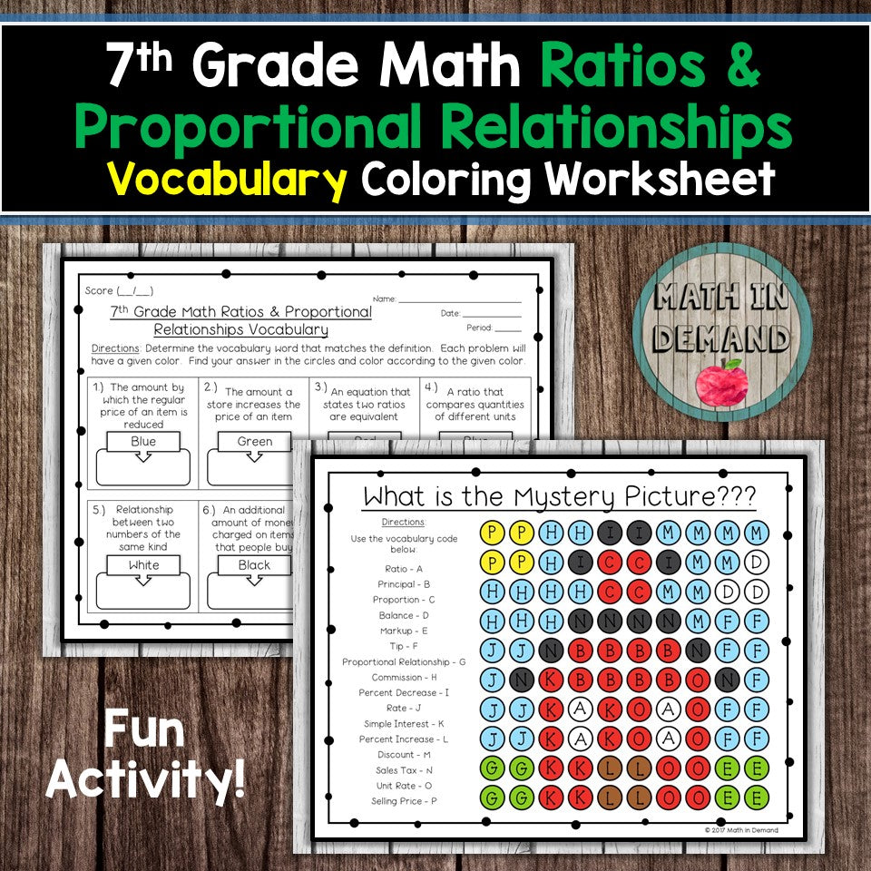 7th Grade Math Ratios & Proportional Relationships Vocabulary Coloring Worksheet