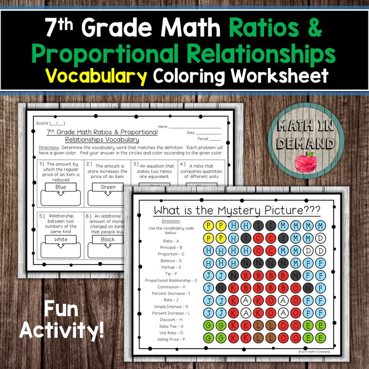 7th Grade Math Number Sense Vocabulary Coloring Worksheet - Math in ...