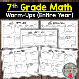 6th, 7th, and 8th Grade Math Warm-Ups Bundle