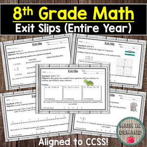 8th Grade Math Exit Slips