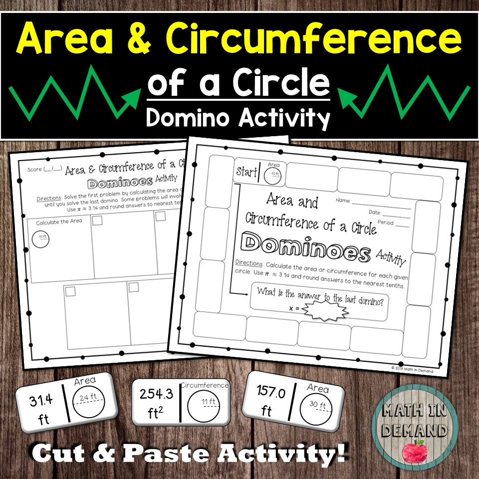 Area and Circumference of a Circle Dominoes Activity