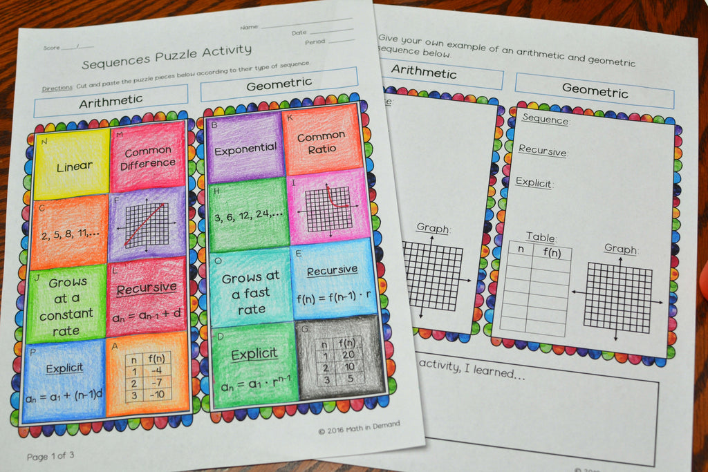 Sequences Puzzle Activity (Arithmetic and Geometric)