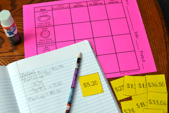 Markups and Discounts Card Sort Activity