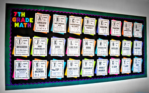 7th Grade Math Alphabet Vocabulary Word Wall (Great for Bulletin Boards)