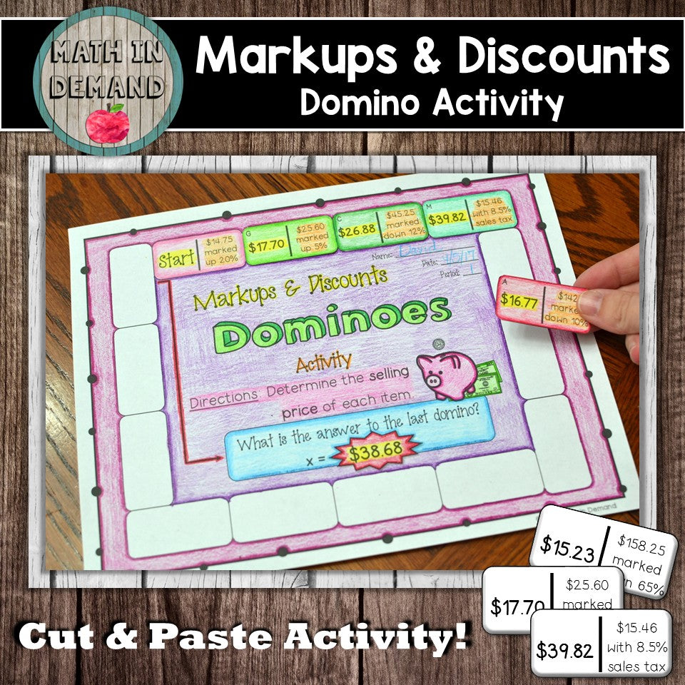 Markups and Discounts Dominoes Activity (Includes Markups, Discounts, Sales Tax)