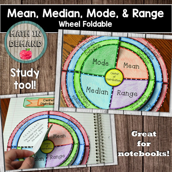 Mean, Median, Mode, and Range Wheel Foldable
