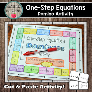 One-Step Equations Dominoes Activity
