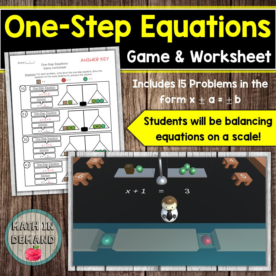 One-Step Equations Game and Worksheet