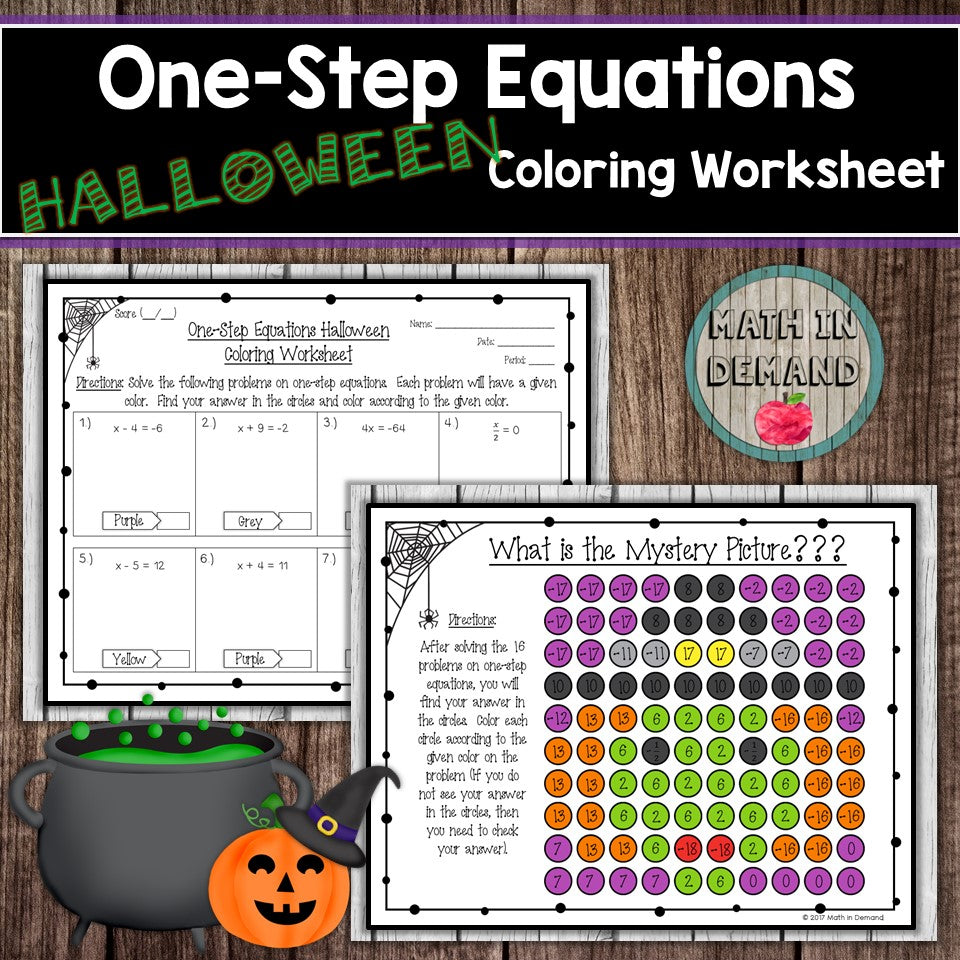 One-Step Equations Halloween Coloring Worksheet