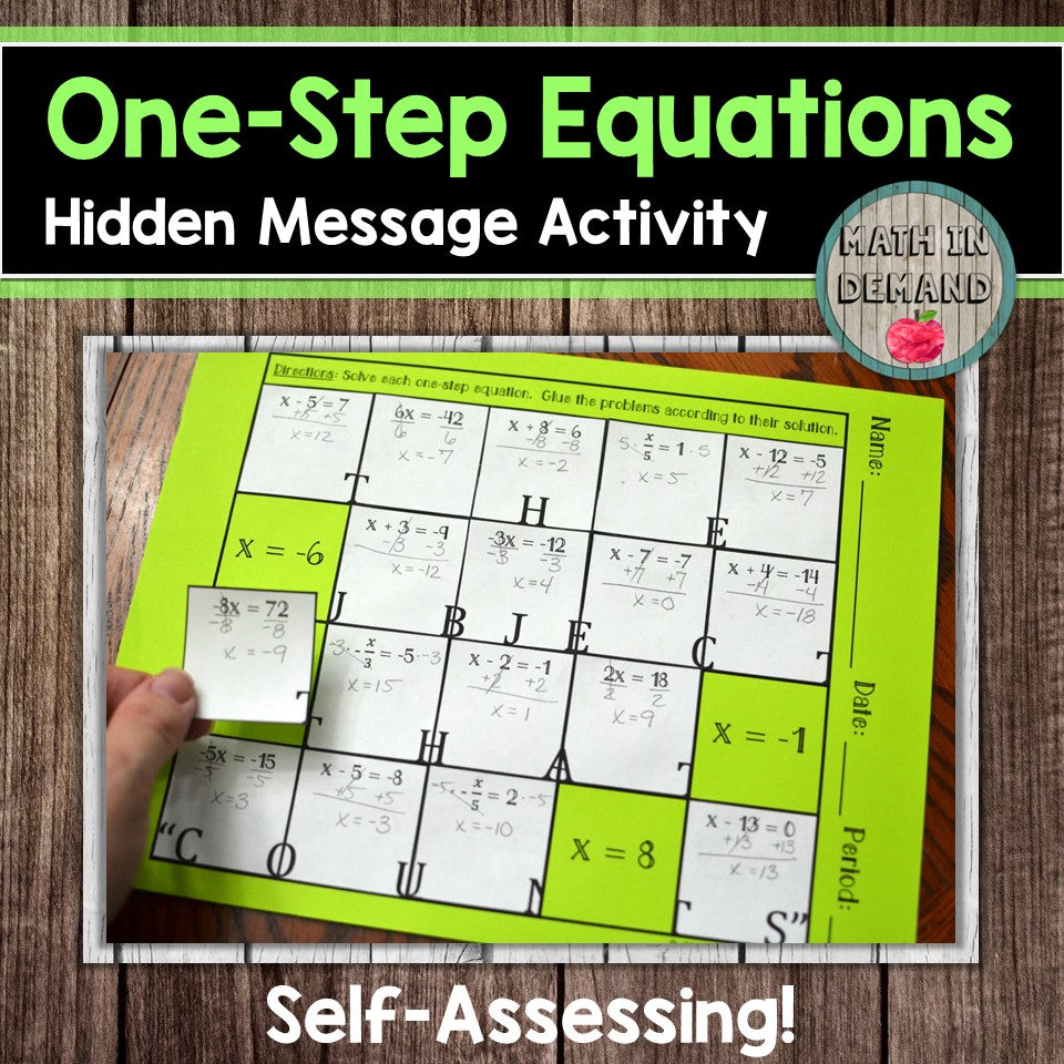 One-Step Equations Hidden Message Activity