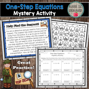 One-Step Equations Mystery Activity