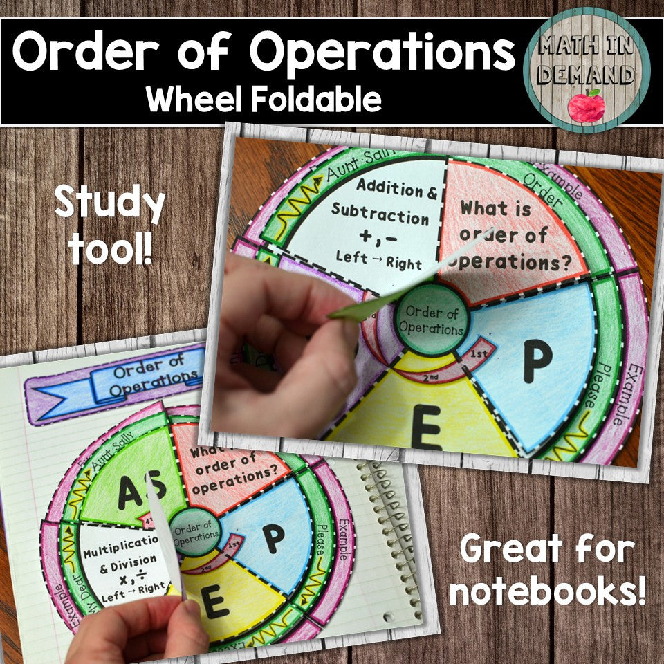 Order of Operations Wheel Foldable