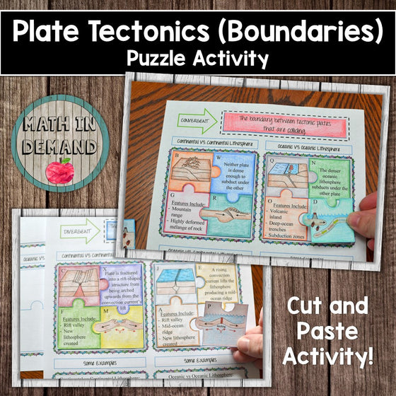 Science Activities Foldables And Worksheets Plate Tectonics Boundaries Puzzle