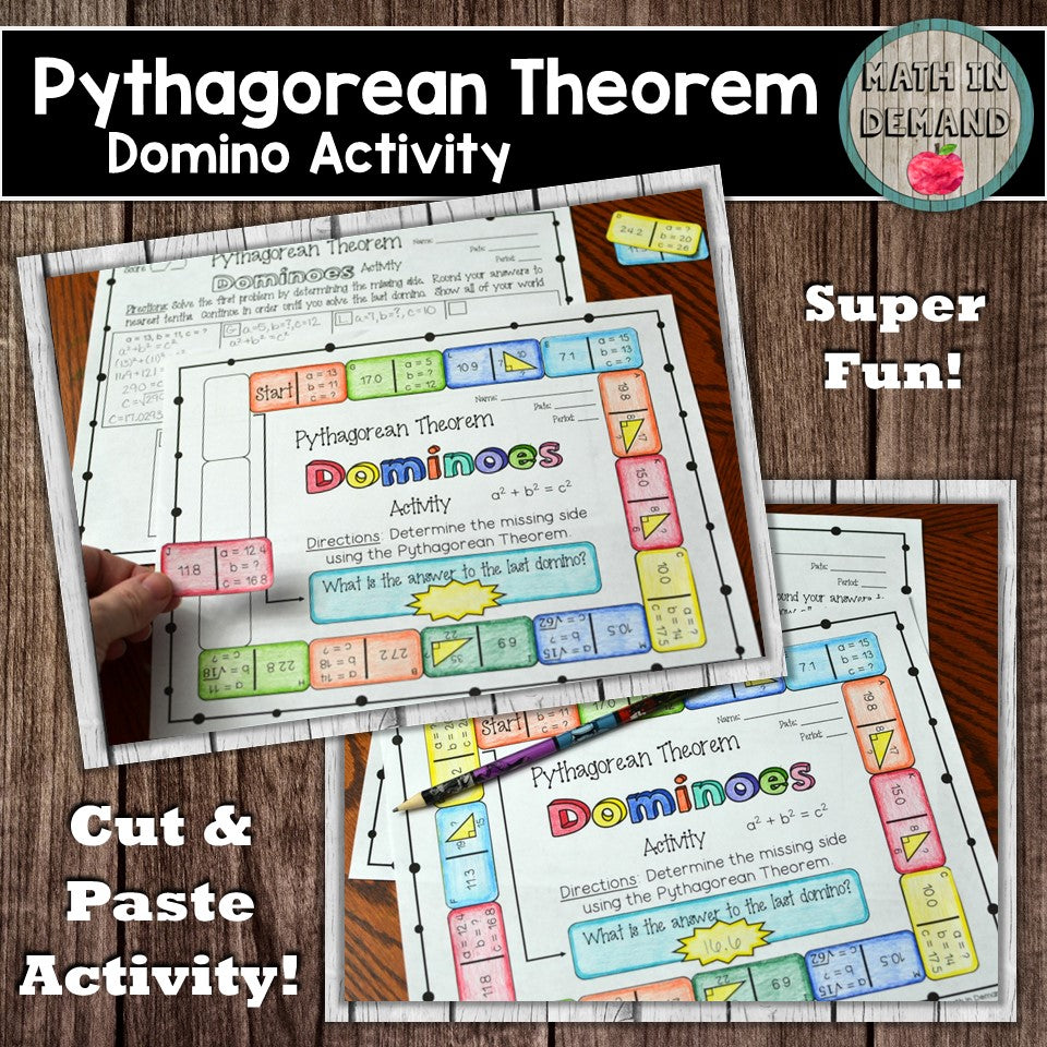 Pythagorean Theorem Dominoes Activity
