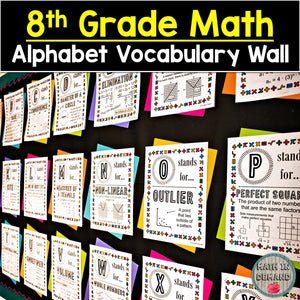 8th Grade Math Alphabet Vocabulary Word Wall (Great for Math Bulletin Boards)