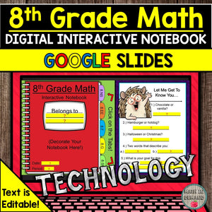 8th Grade Math Digital Notebook