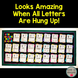8th Grade Math Alphabet Vocabulary Word Wall (Great for Bulletin Boards)