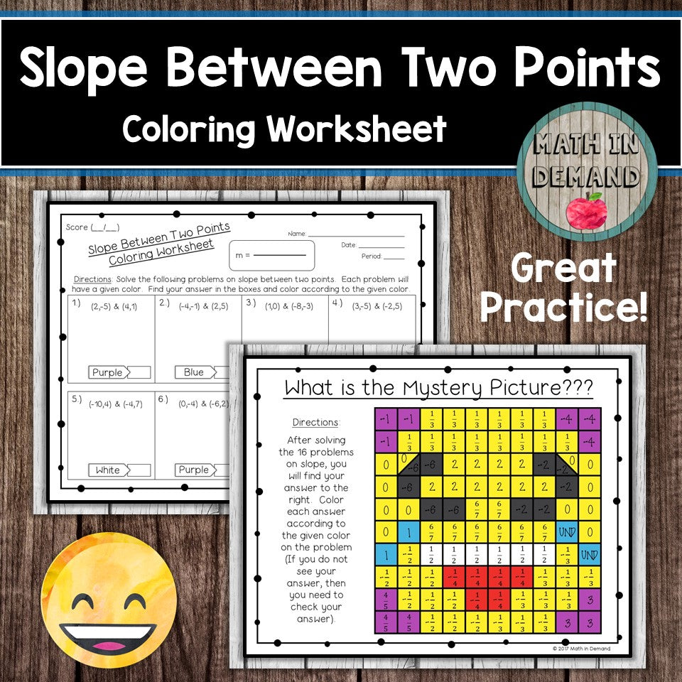 Worksheets Slope From Two Points Worksheet slope between two points coloring worksheet math in demand