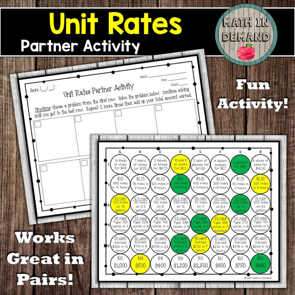 Unit Rates Partner Activity