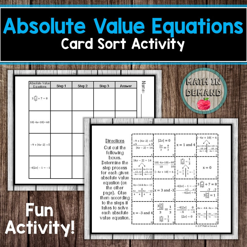 Absolute Value Equations Card Sort Activity