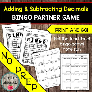 Adding and Subtracting Decimals Bingo Partner Game