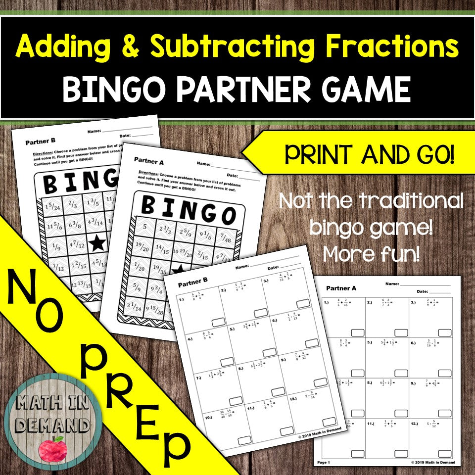 Adding and Subtracting Fractions Bingo Partner Game