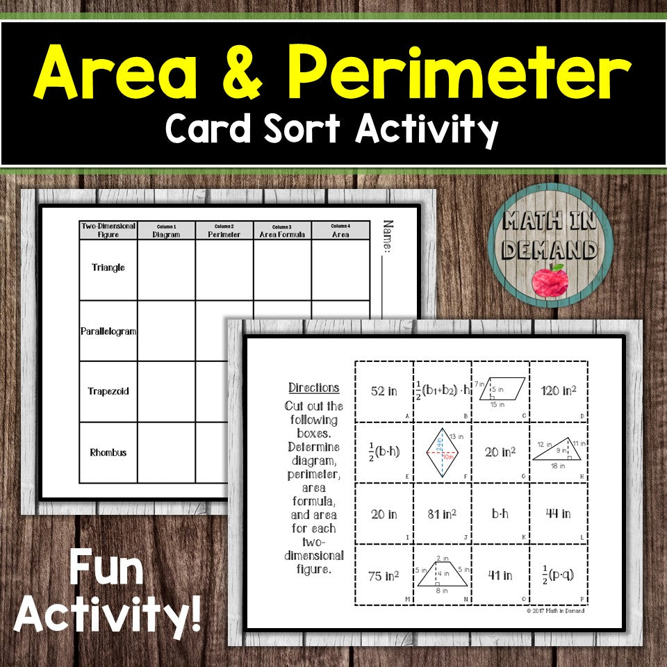 Area and Perimeter Card Sort Activity