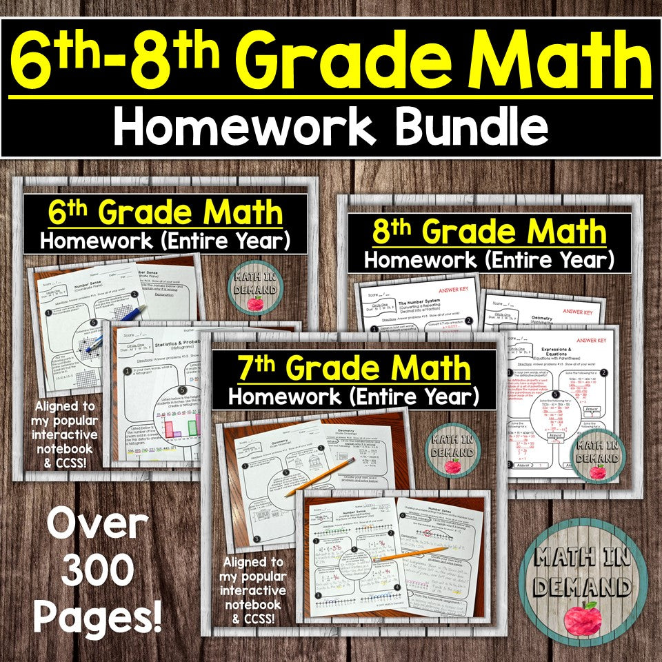 6th, 7th, and 8th Grade Math Homework Bundle