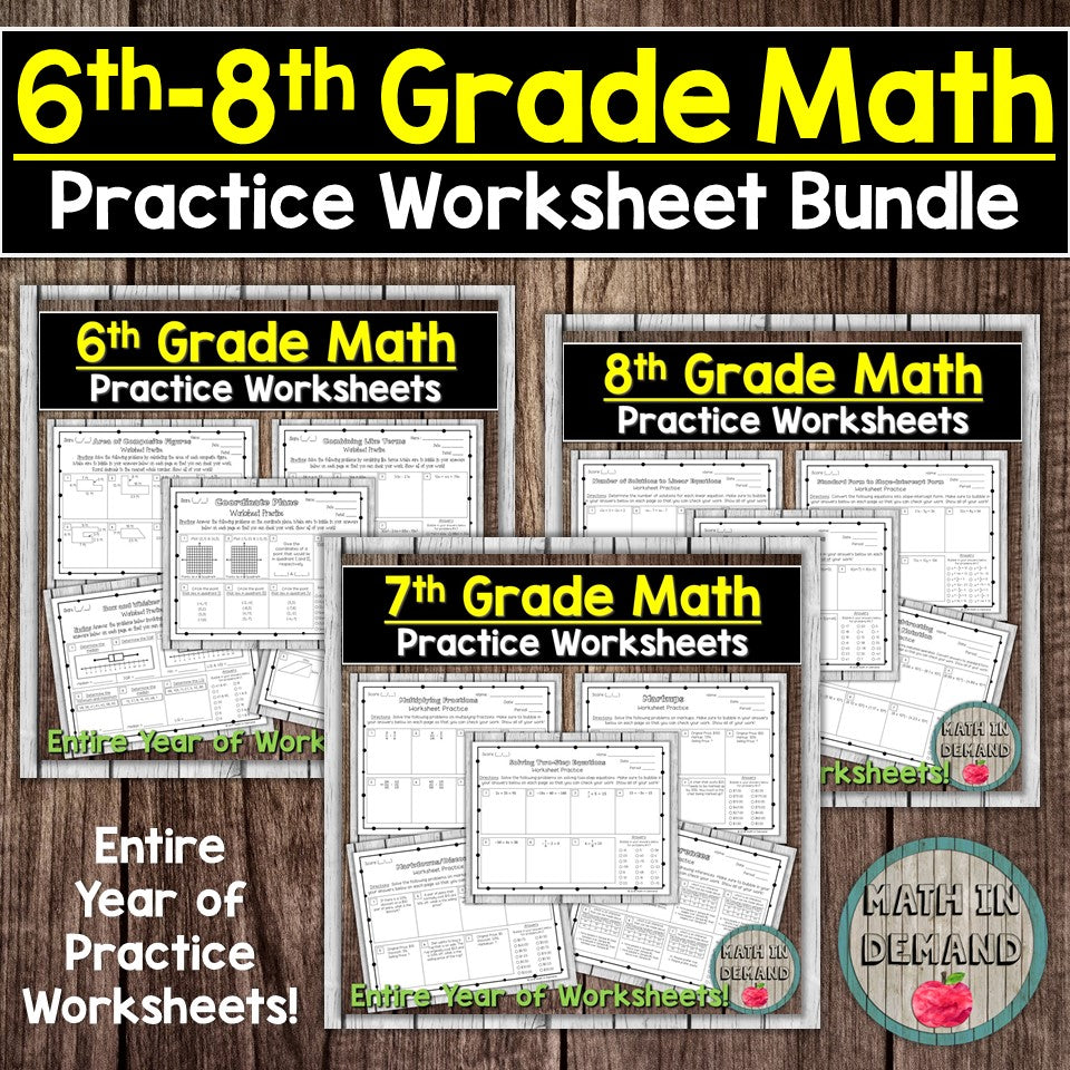 Math Practice Worksheets Bundle