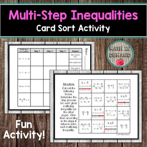 Multi-Step Inequalities Card Sort Activity