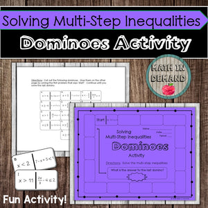 Solving Multi-Step Inequalities Dominoes Activity