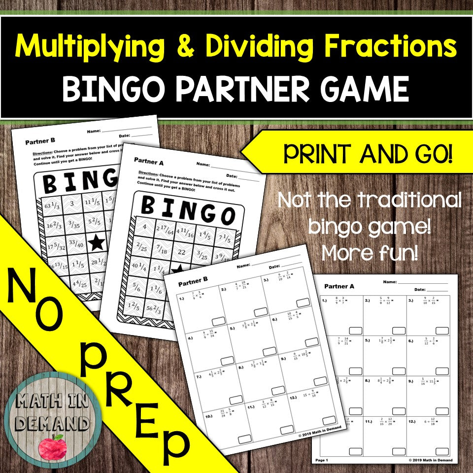 Multiplying and Dividing Fractions Bingo Partner Game