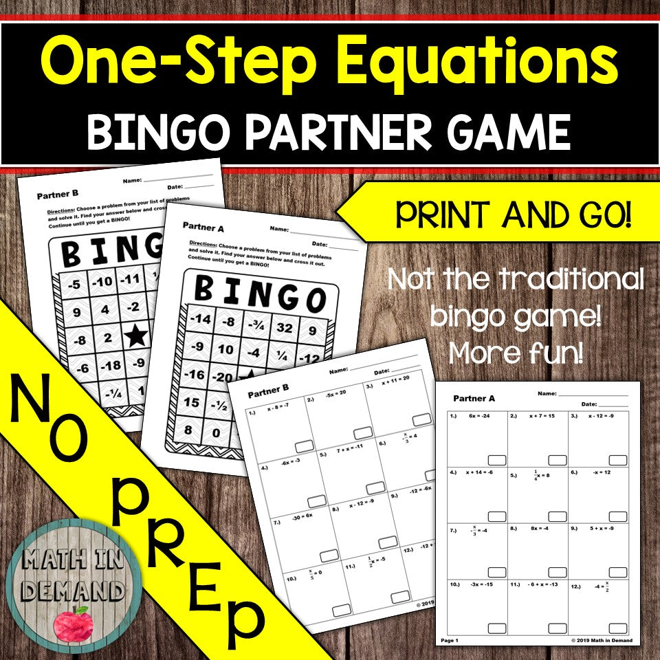 One-Step Equations Bingo Partner Game
