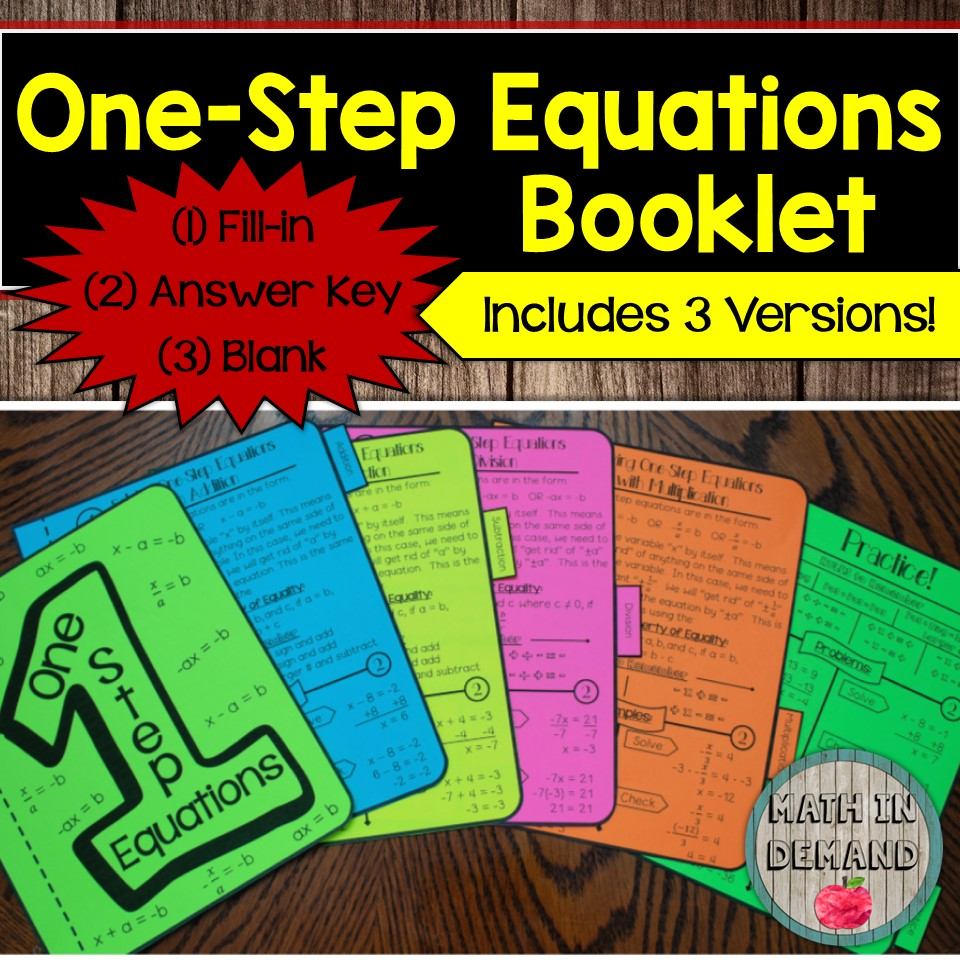 One-Step Equations Booklet (Solving One-Step Equations)