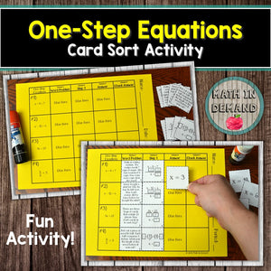 One-Step Equations Card Sort Activity