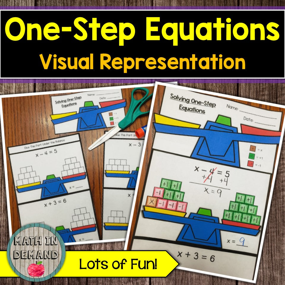 One-Step Equations Visual Representation Activity