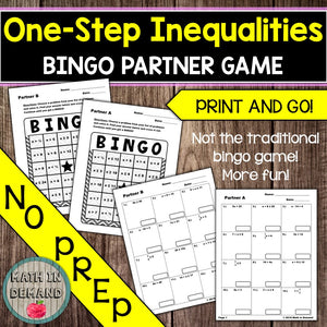 One-Step Inequalities Bingo Partner Game