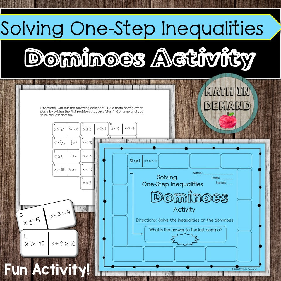Solving One-Step Inequalities Dominoes Activity