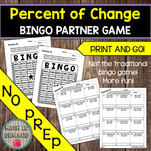 Percent of Change Bingo Partner Game